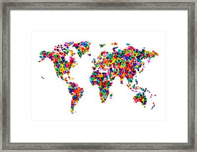 Love Hearts Map Of The World Map Framed Print