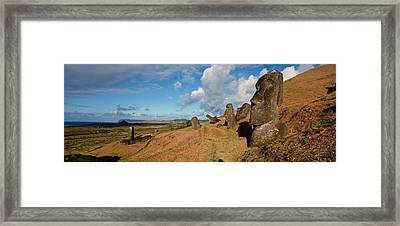 Low Angle View Of Moai Statues, Tahai Framed Print by Panoramic Images