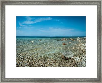 Framed Print featuring the photograph Mackinac Bridge by Larry Carr