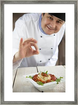 Male Chef In Restaurant Framed Print by Mythja  Photography