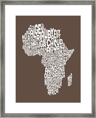 Map Of Africa Map Text Art Framed Print