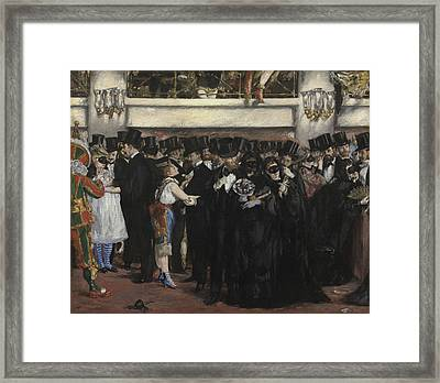 Masked Ball At The Opera Framed Print by Edouard Manet