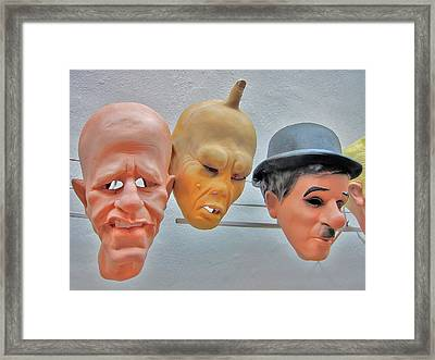 Masks. Next To Charles Bridge. Prague. Czech Republic. Framed Print by Andy Za