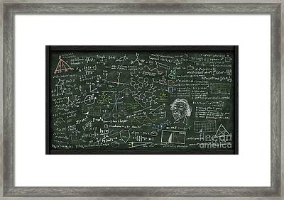 Maths Formula On Chalkboard Framed Print