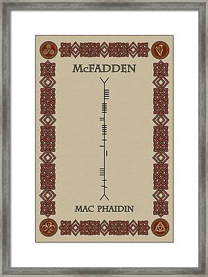 Mcfadden Written In Ogham Framed Print by Ireland Calling