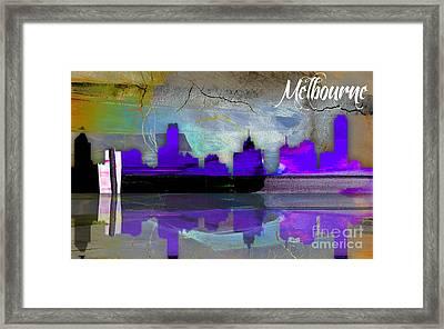 Melbourne Australia Skyline Watercolor Framed Print