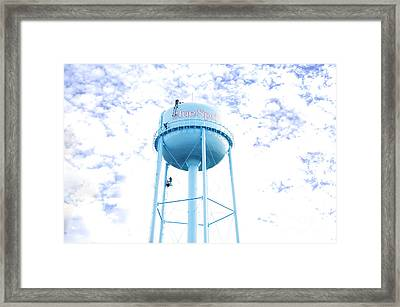 3 Men Painting The Blue Springs Water Tower Framed Print by Andee Design