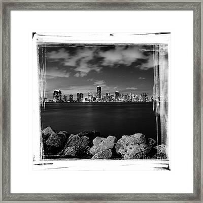 Miami Skyline At Night Framed Print by Carsten Reisinger