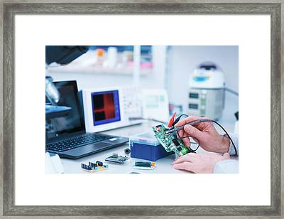 Microprocessor In Lab Framed Print