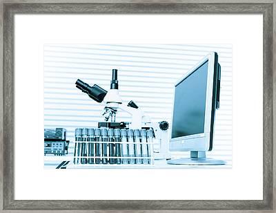 Microscope And Computer Framed Print by Wladimir Bulgar