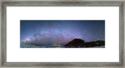 Milky Way Over Telescopes On Hawaii Framed Print by Walter Pacholka, Astropics