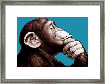 Monkey - Stylised Drawing Art Poster Framed Print by Kim Wang