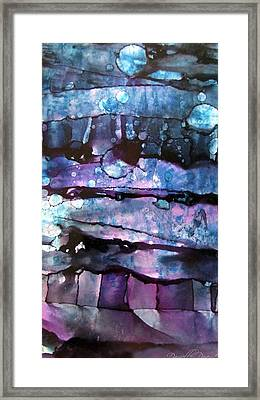 3 Moon In The Night Abstract Alcohol Inks Framed Print