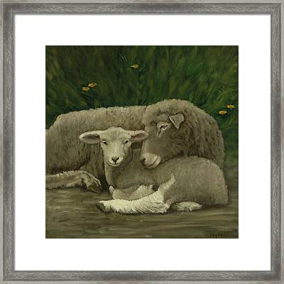 Framed Print featuring the painting Mother And Lamb by John Reynolds