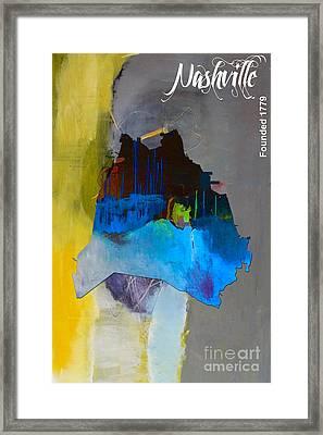 Nashville Map Watercolor Framed Print