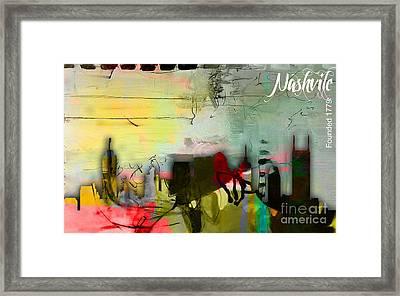 Nashville Skyline Watercolor Framed Print by Marvin Blaine