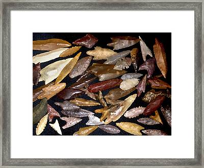 Neolithic Flint Arrowheads Framed Print by Science Photo Library