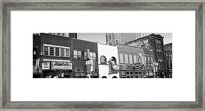 Neon Signs On Buildings, Nashville Framed Print