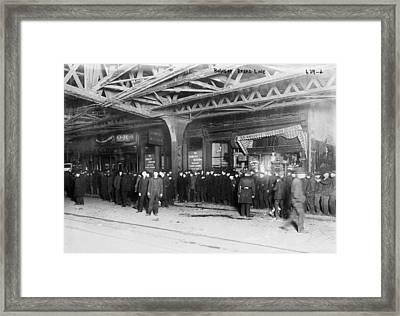 New York City Bread Line Framed Print by Granger