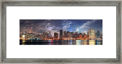 New York City Manhattan Midtown At Dusk Framed Print