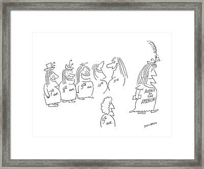 New Yorker December 7th, 1968 Framed Print by Saul Steinberg