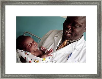 Newborn Baby Framed Print by Mauro Fermariello/science Photo Library