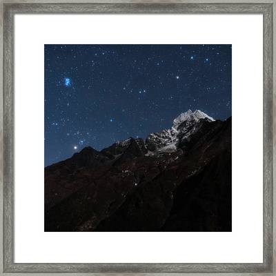 Night Sky Over The Himalayas Framed Print