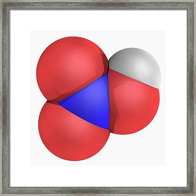Nitric Acid Molecule Framed Print by Laguna Design/science Photo Library