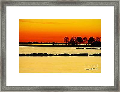 Ocean Beach Sunset Framed Print by Carol F Austin