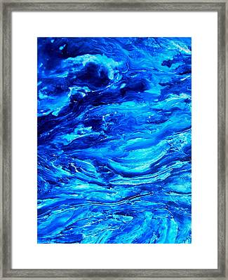 Ocean Explorer Blue Abstract Triptych Framed Print