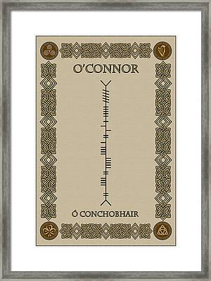 Framed Print featuring the digital art O'connor Written In Ogham by Ireland Calling