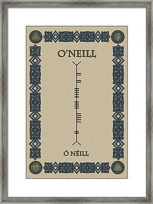 Framed Print featuring the digital art O'neill Written In Ogham by Ireland Calling