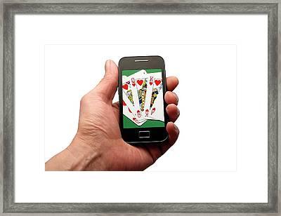 Online Gambling Framed Print by Victor De Schwanberg