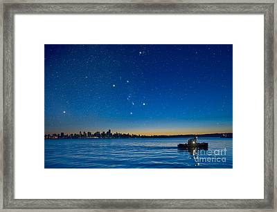 Orion Over Vancouver, Canada Framed Print by David Nunuk