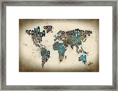 Paint Splashes Text Map Of The World Framed Print