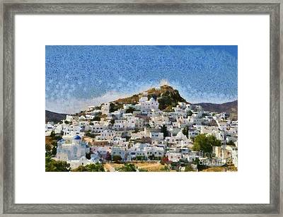 Painting Of Ios Town Framed Print by George Atsametakis