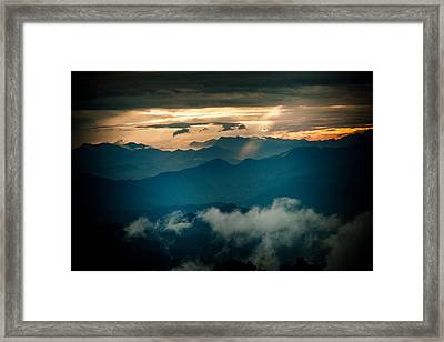 Panaramic Sunset Himalayas Mountain Nepal Framed Print by Raimond Klavins