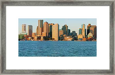 Panoramic Of Boston Harbor Framed Print