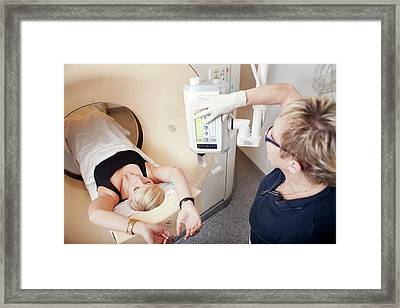 Patient In Ct Scanner Framed Print