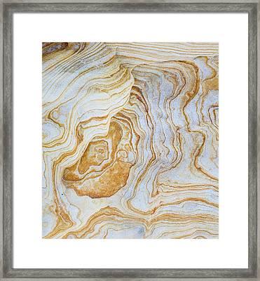 Pattern Of Layers On Sandstone Rock Framed Print