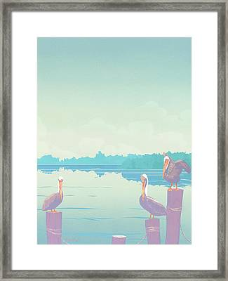 Abstract Pelicans Tropical Florida Seascape Large Pop Art Nouveau 80s 1980s Stylized Painting Framed Print by Walt Curlee