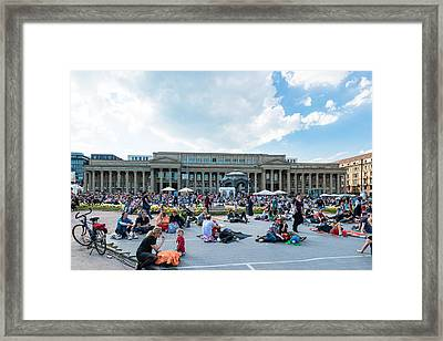 People Enjoying Open Air Cinema In The City Center Of Stuttgart Germany Framed Print by Frank Gaertner