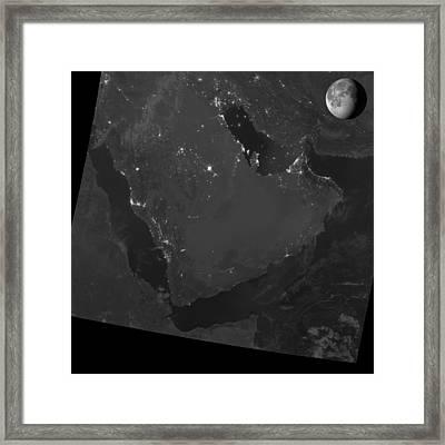 Persian Gulf At Night, Satellite Image Framed Print
