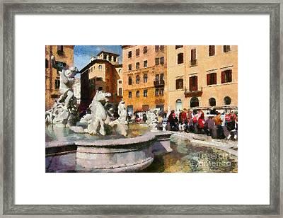 Piazza Navona In Rome Framed Print
