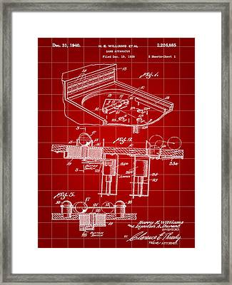 Pinball Machine Patent 1939 - Red Framed Print by Stephen Younts
