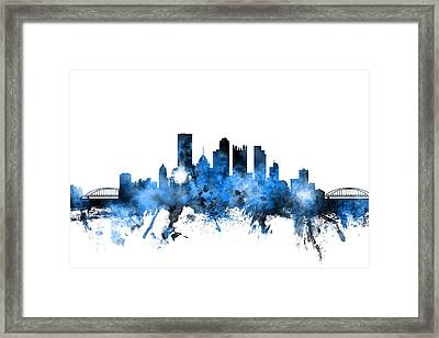 Pittsburgh Pennsylvania Skyline Framed Print by Michael Tompsett