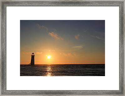 Point Of Ayr Lighthouse At Sunset Framed Print by Turnip Towers