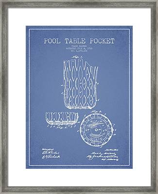 Poll Table Pocket Patent Drawing From 1916 Framed Print by Aged Pixel