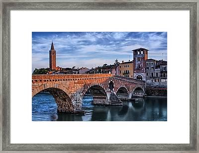 Ponte Pietra Verona Framed Print by Carol Japp