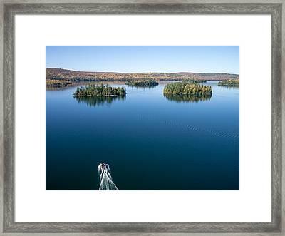 Pontoon Boat On Big Cedar Lake Framed Print